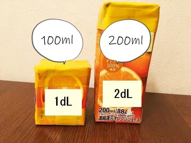 ジュースの空き箱を使ってdLを見える化