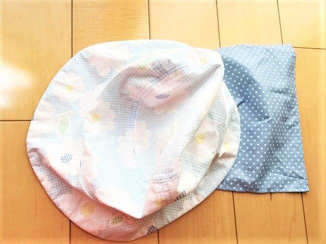 紫外線対策に子供の帽子に日よけを作りました。簡単に作れます。
