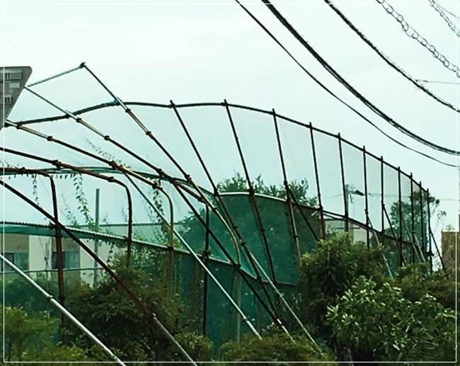 台風でなぎ倒されたフェンス