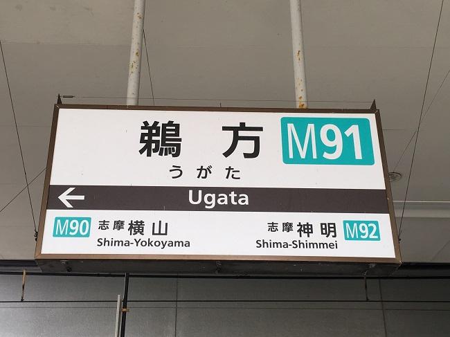 近鉄鵜方駅の看板