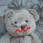 唇を負傷した熊