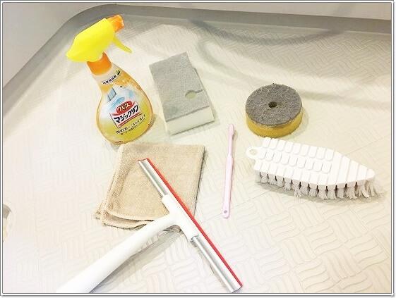 お風呂掃除セットはお風呂場に用意しています