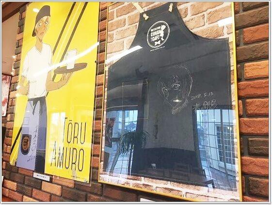 安室さんのポスターとエプロンの展示